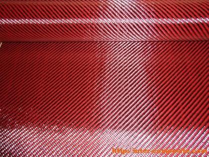 Карбон-кевлар красный 3К 2х2