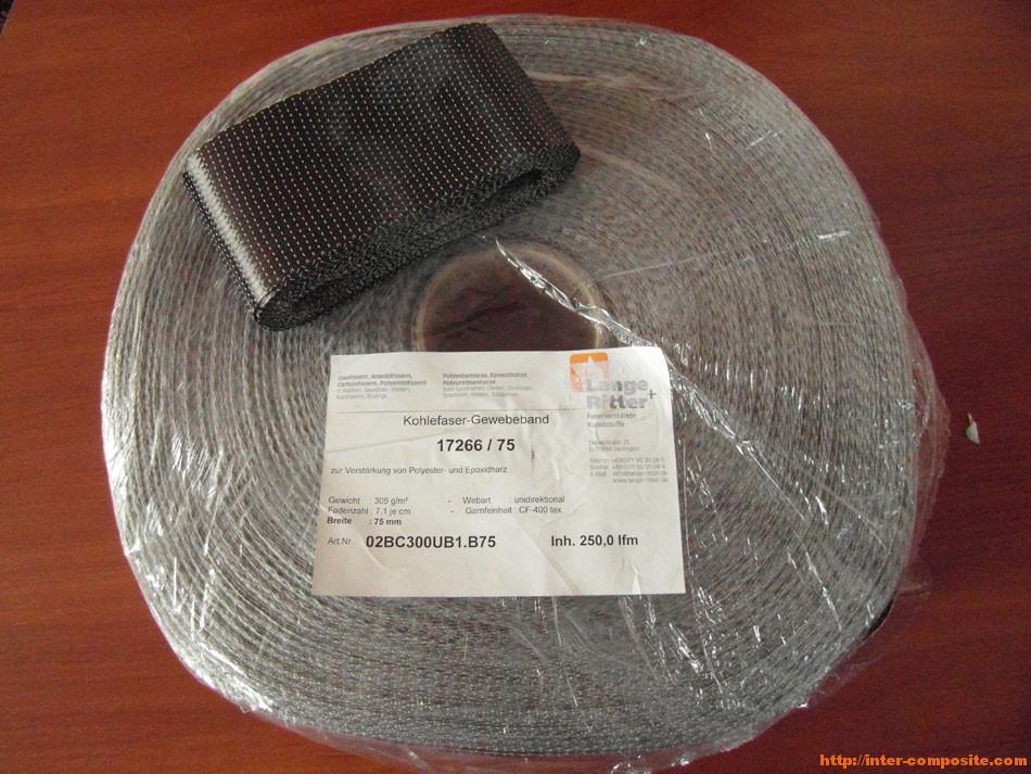 Лента углеродная однонаправленная 7.5см | Inter-Composite | Композитные материалы